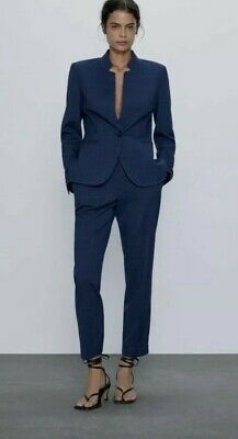 ZARA Suit Womens Navy Checked Blazer And Trouser Jacket Full Set Size 8. New! • 39.99£