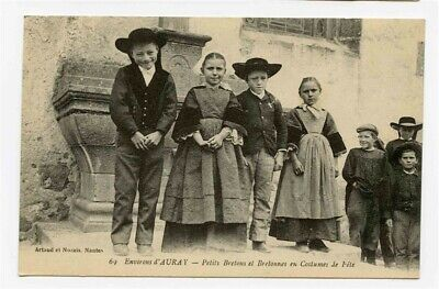 French Children Boys And Girls In Breton Costumes Postcard 1900's • 11.96£