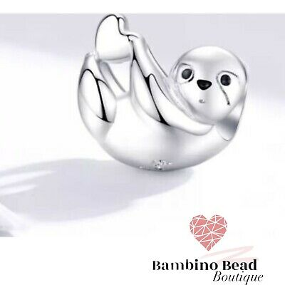 Silver Charm Pandora Fitting Hanging Sloth Holding Heart Bead, With Cloth • 15.99£
