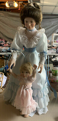 "$ CDN31.57 • Buy 1:4 Porcelain Dolls. Mother 17"" Tall / Daughter 9"" Tall Set. Learning To Walk."