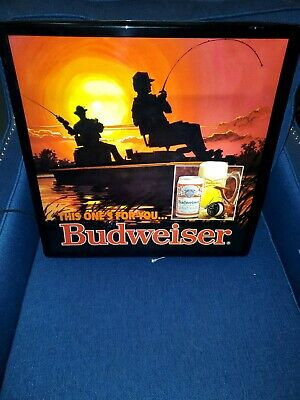 $ CDN181.66 • Buy VINTAGE 1989 BUDWEISER THIS ONES FOR YOU LIGHTED FISHING BEER SIGN - USED 18x18