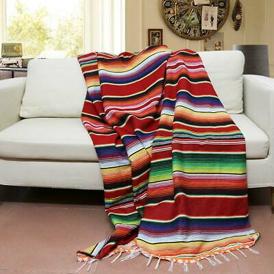 Mexican Tablecloth Cotton Rainbow Blanket Yoga Throw Rug Saltillo Table Runner  • 18.99£