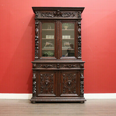 AU2450 • Buy Antique French Oak Bookcase, 2 Height Sectional Bookcase China Cabinet Cupboard