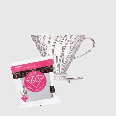 AU35 • Buy Hario V60 Coffee Dripper 02 Size Clear Plastic Brand New +100 Paper 02 Filters
