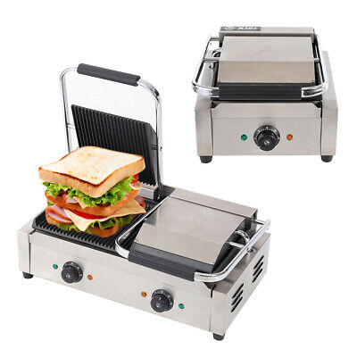 Panini Press Grill Sandwich Toaster Waffle Maker Commercial Iron Toastie Ribbed • 115.95£
