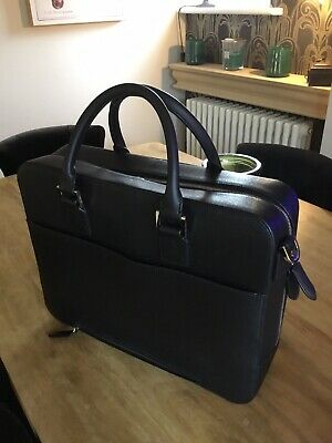 Aspinal Of London Large Mount Street Bag Black Saffiano Leather Laptop Briefcase • 595£