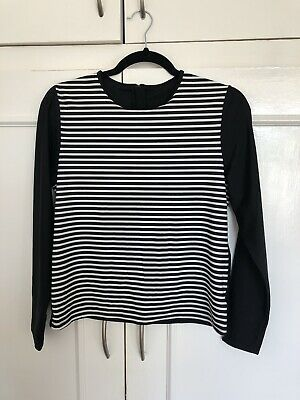 New Peacocks Uv Protection Summer Beach Top Ladies Size 16 Zip Back Black White • 0.99£