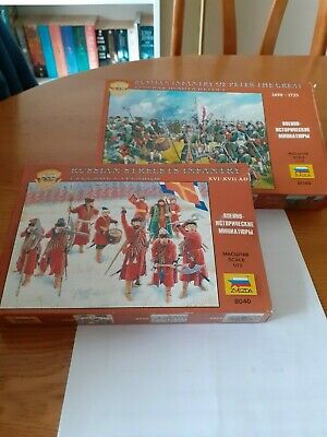 1/72nd Zvezda Russian Inf Of Peter The Great / Russian Strelets 1 Box Each • 2.71£
