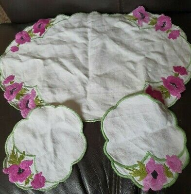 Vintage Hand Embroidered Linen Duchess Set Dressing Table Mats • 5.99£