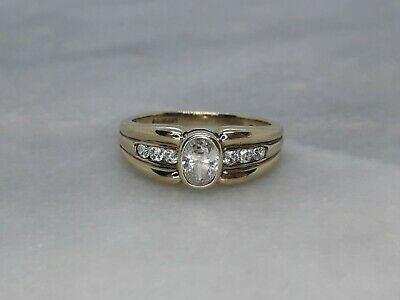 Solid 9ct Yellow Gold Solitaire Accents Ring Cubic Zirconia M - 2.65g Not Scrap • 16£