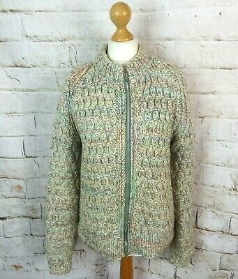 Vintage Multicoloured Pastel Chunky Cable Aran Hand Knit Wool Blend Cardigan 12 • 27.99£