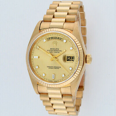 $ CDN19424.61 • Buy Rolex President Day-Date 18K Yellow Gold 18038 Factory Diamond Dial Mens Watch