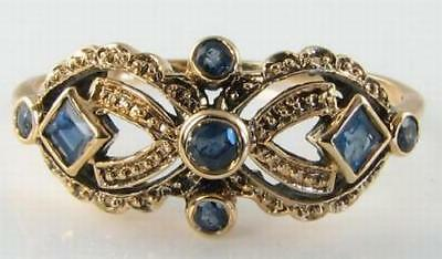 Dainty 9k 9ct Gold Blue Sapphire Art Deco Ins Ring  • 189£