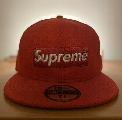$ CDN200 • Buy Supreme 2007 Box Logo Red Ultra Suede New Era Fitted Hat Sz 7 5/8