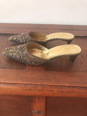 Vero Cuoio Bronze Embellished Ladies Shoes Size 5 • 3.50£