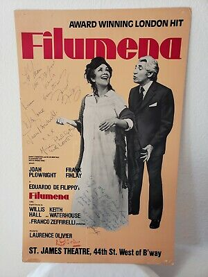 RARE Signed Sir Laurence Olivier, Broadway Poster 1980  Filumena    • 149.46£