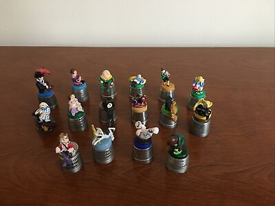 Complete Set Of 16 Nursery Rhyme Character Pewter Thimbles. • 75£