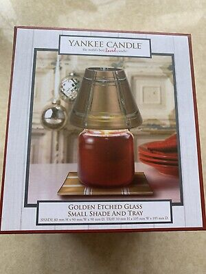 Yankee Candle Gold Etched Small Shade & Tray Set Steven Corfield QVC • 13.99£
