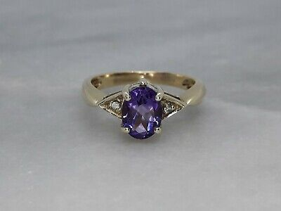 Solid 9ct Yellow Gold Solitaire Accents Ring Amethyst Topaz N 1/2 - 3g Not Scrap • 36£