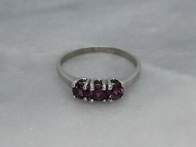 Solid 9ct White Gold Trilogy Ring Purple Tourmaline - S 1/2 - 2.75g - Not Scrap • 11.71£