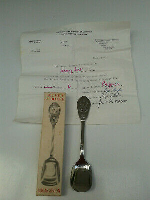 Silver Jubilee Sugar Spoon Vintage Made By H.M & CO. Sheffield • 8£