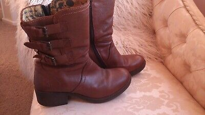 London Fly Leather Biker Chestnut Brown Boots Size 5 Ex Cond • 19.99£