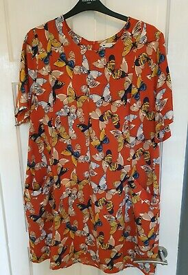 YUMI Butterfly Tunic Dress With Pocket Ladies Rust Size UK 22 • 9.50£