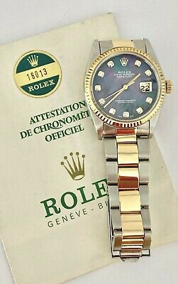 $ CDN7494.55 • Buy Rolex DateJust 16013 Automatic Watch 14K Oyster Diamond Tahitian MOP Dial Papers