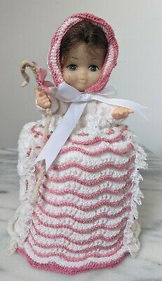 Vintage Doll Toilet Roll Cover, Bo Peep, Hand Knit White/Roses *Kitsch* VGC • 6.95£