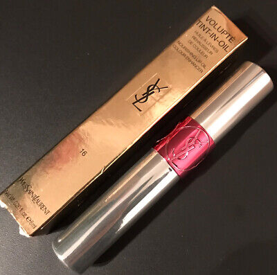 Yves Saint Laurent Pink Lip Gloss Volupte Tint In Oil 16 Prune Me Tender • 6£