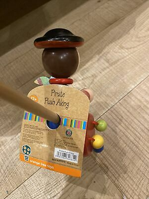 Orange Tree Toys Push Along Wooden Toy  Pirate Used But In Perfect Working Order • 2.60£