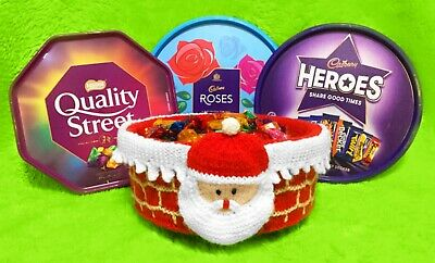 £2.99 • Buy KNITTING PATTERN - Father Christmas Santa On Chimney Sweet Tub Cover - Roses