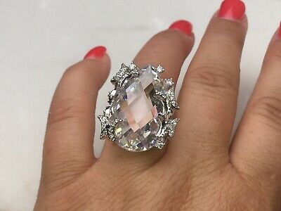 $225 • Buy Charles Winston Sterling Silver Huge Pear Cubic Zirconia Ring With Butterflies