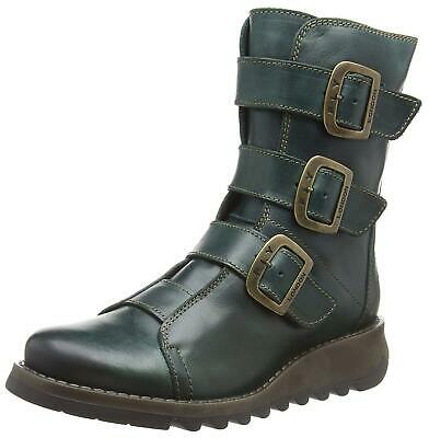 New Womens Fly London Scop Leather Buckled Biker Ankle Boots Wedge UK 3-9 Green • 109.99£