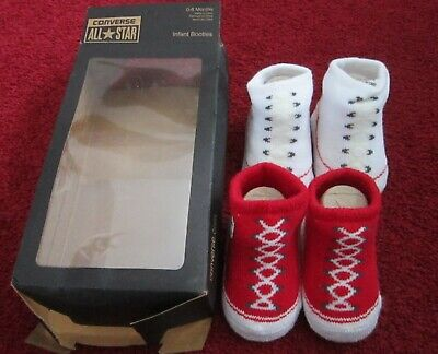 Converse All Star Baby Infant Slip On Sock Booties Gift Boxed 2 Pairs 0-6 Months • 14.99£