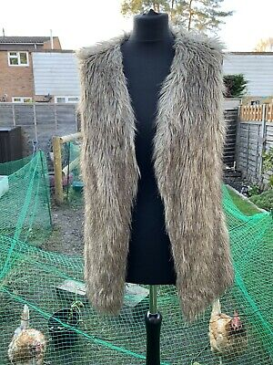 Brown Fluffy Yeti Faux Fur Waistcoat Gilet Festival New Look Size 12 70s Style • 1£