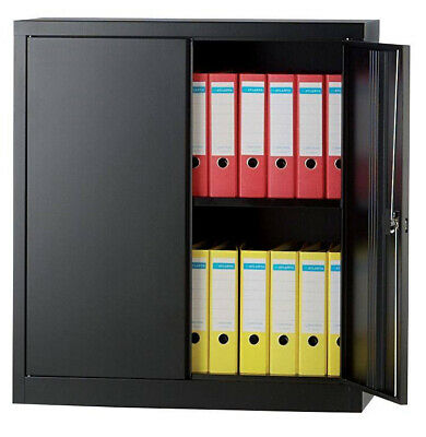 Bisley Regular Door Cupboard 1 Shelf Lockable Steel 914 X 457 X 1016 Mm Black • 100£