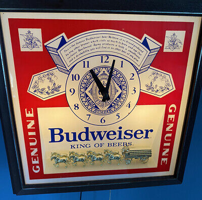 $ CDN71.94 • Buy Vintage Budweiser Clock Lighted Beer Sign With Clydesdales Horses Deluxe Version