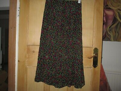 Caroline Charles London Black Silk Ditsy Brights Print Flared Midi Skirt UK 10 • 4.99£