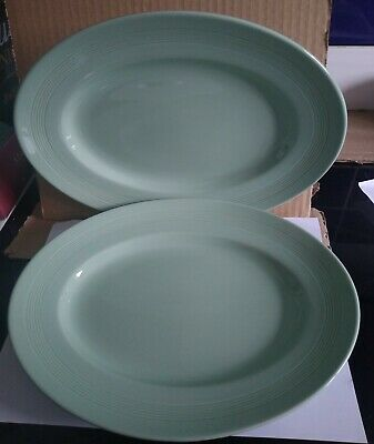 TWO WOODS WARE GREEN BERYL OVAL SERVING PLATES, Approx 30cm X 23cm • 9.50£