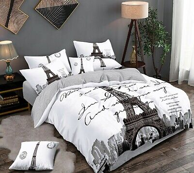AU35 • Buy All Size Bed Ultra Soft Quilt Duvet Doona Cover Set Bedding Paris Eiffel Tower