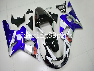 $499 • Buy Black White Blue Silver ABS Injection Fairing Kit Fit For 2000-2002 GSXR1000