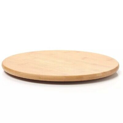 £16.99 • Buy Rotating Wooden Tray Round Lazy Susan Turntable Serving Solid Plate Pizza Board
