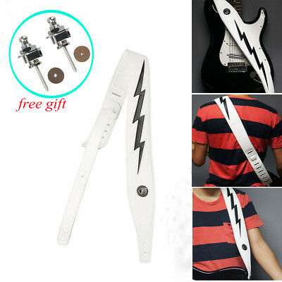 $ CDN32.73 • Buy Adjustable White Lightning Leather Padded Guitar Strap Belt & 2 Strap Locks Free