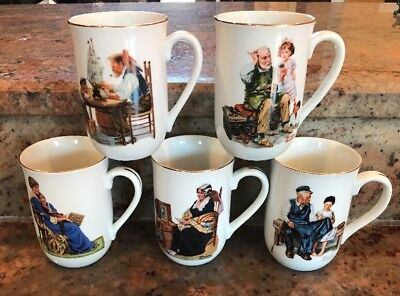 $ CDN11.66 • Buy Vintage Norman Rockwell Coffee Cups Mugs Set Of 5 Museum Collection 1982