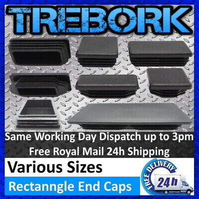 Rectangle Plastic End Caps Blanking Plugs Tube Box Section Inserts Furniture • 11.20£