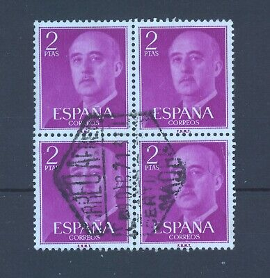 Spain, General Franco 2 Ptas, Fine Used Block Of Four, Airmail Cancel. • 2.75£