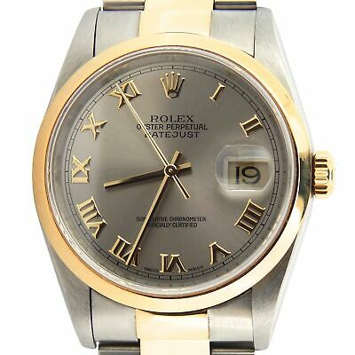 $ CDN7828.10 • Buy Rolex Datejust 16203 Mens Stainless Steel 18K Gold Watch Oyster Band Slate Roman