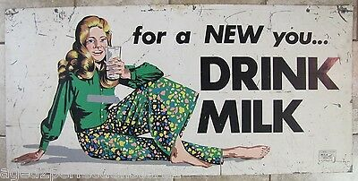 $895 • Buy 1960s CONNECTICUT MILK FOR HEALTH Sign 'for A NEW You..DRINK MILK' Dairy Farm Ad
