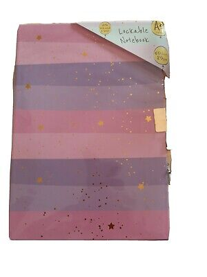 Secret Diary Lockable A5 Notebook Journal Purple Pink And Gold Stars Design New • 3.74£